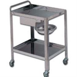 CARRELLO OSPEDALIERO PER MEDICAZIONE DRESSING in acciaio inox - 2 ripiani - 1 cassetto 1portacatino - 70x50xh.80cm