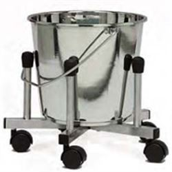 BASTARDELLA SU 5 RUOTE in acciaio inox - Ø500xh.345mm - capacità 10lt
