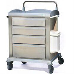CARRELLO MULTIFUNZIONE INOX - 4 cassetti - portarifiuti - portacateteri