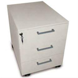 CASSETTIERA MOBILE A ROTELLE - 3 cassetti con serratura - 42,5x53xh.52cm - grigio