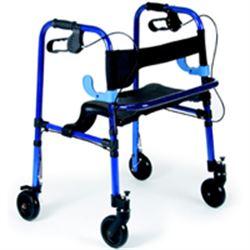 DEAMBULATORE PIEGHEVOLE DA ESTERNO / ROLLATOR - 4 RUOTE con freni - sedile e schienale - portata 130kg - blu