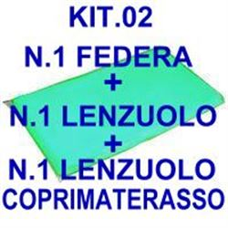 "KIT ""02"" PER BARELLA = n.1 FEDERA + n.1 LENZUOLO + n.1 LENZUOLO COPRIMATERASSO"
