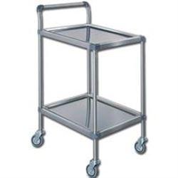 CARRELLO OSPEDALIERO MEDICAZIONE PLUS in acciaio inox - 2 ripiani - 61x43xh78cm - portata 10kg