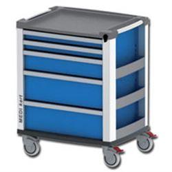 CARRELLO MULTIFUNZIONE MEDI KART in alluminio - 5 cassetti - 61x81xh.98cm