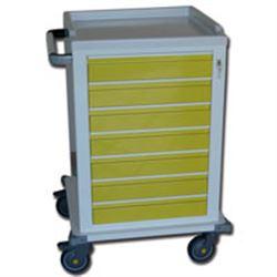 CARRELLO MULTIFUNZIONE in acciaio - con 7 cassetti - serratura - 67x63xh.104cm