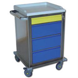 CARRELLO MODULARE IN ACCIAIO INOX - con 4 cassetti - serratura - 67x63xh.104cm -