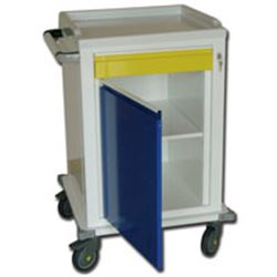 CARRELLO MULTIFUNZIONE in acciaio - 2 ripiani+1 cassetto - serratura - 67x63xh.104cm