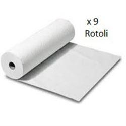ROTOLO CARTA LETTINO LENZUOLINO - 2 VELI in pura cellulosa - 50cmxh.50m - conf.9rotoli