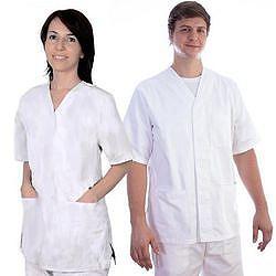 CASACCA CON BOTTONI AUTOMATICI UNISEX in cotone 100% - bianca - varie misure