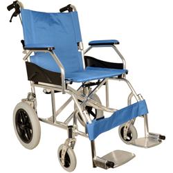 SEDIA A ROTELLE / CARROZZINA DA TRANSITO QUEEN - in alluminio - blu