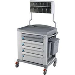 CARRELLO MULTIFUNZIONE MEDICAZIONE KS STANDARD - 4 cassetti - serratura - 92x71xh.108cm