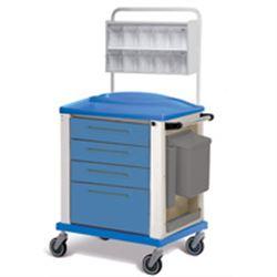 CARRELLO MEDICAZIONE - standard - 4 cassetti - blu