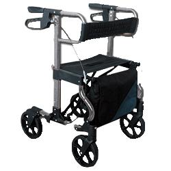 DEAMBULATORE PIEGHEVOLE DA ESTERNO / ROLLATOR - 4 RUOTE con freni a mano - sedile e borsa - portata 100kg