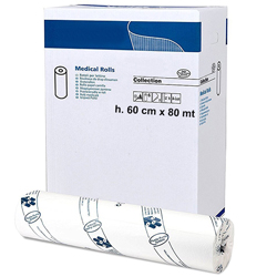 ROTOLO CARTA LETTINO LENZUOLINO MEDICO - 2 veli - pura cellulosa - 80mxh.60cm - conf. 6pz