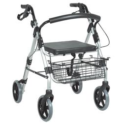 DEAMBULATORE PIEGHEVOLE CON SEDILE SILVER - 4 RUOTE con freni a mano - sedile e cestello - altezza regolabile - portata 100kg