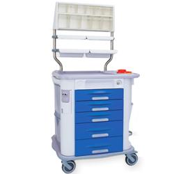 CARRELLO MULTIFUNZIONE MEDICAZIONE AURION - 5 cassetti -  775 x 710 x h 920 mm - blu
