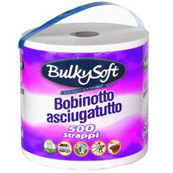 CARTA ASCIUGAMANI ASCIUGATUTTO BULKISOFT IN PURA CELLULOSA - bobina 500 strappi