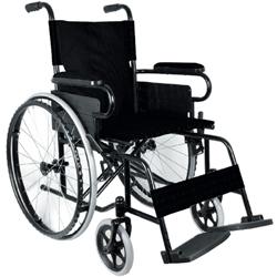 SEDIA A ROTELLE / CARROZZINA PIEGHEVOLE AD AUTOSPINTA BASIC - seduta 46cm - bracciolo fissi - ruote piene