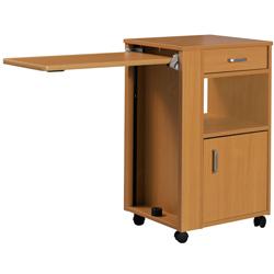 COMODINO IN LEGNO CON VASSOIO ESTRAIBILE SU RUOTE in legno - 50x33xh.85cm