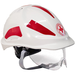ELMETTO CASCO DI PROTEZIONE CROCE ROSSA AERATO IN ABS  - con adesivi catarifrangenti visiera e sottogola - bianco