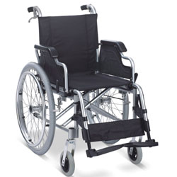 CARROZZINA SEDIA A ROTELLE PIEGHEVOLE - in alluminio con ruote posteriori asportabili - seduta 46cm - portata 120kg