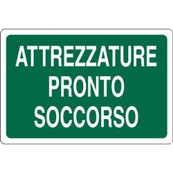 CARTELLO SEGNALETICO PRESENZA ATTREZZATURE DI PRONTO SOCCORSO in alluminio - 30x20cm
