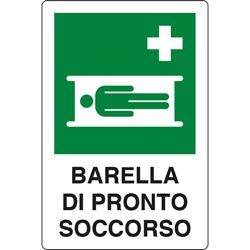 CARTELLO SEGNALETICO PRESENZA BARELLA DI PRONTO SOCCORSO in alluminio - 31x25cm