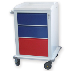 CARRELLO MULTIFUNZIONE in acciaio - 2 cassetti medi+1 cassetto grande - serratura - 67x63xh.104cm