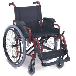 SEDIA A ROTELLE / CARROZZINA PIEGHEVOLE IN ALLUMINIO - disabili e anziani - portata 100kg