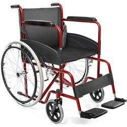 SEDIA A ROTELLE / CARROZZINA PIEGHEVOLE AUTOSPINTA BASIC 46cm - disabili e anziani - braccioli e poggiapiedi fissi