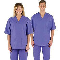 CASACCA DOTTORE MEDICO INFERMIERE UNISEX in cotone 100% - azzurro - varie misure
