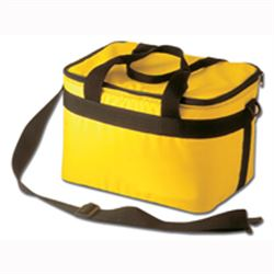 BORSA TERMICA A TRACOLLA IN NYLON 30x23x21cm - col. giallo - con 3 panetti termici