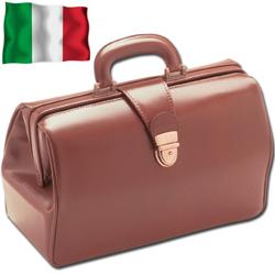 BORSA MEDICO DOTTORE TEXAS 100% VERA PELLE - 35x12xh.22cm - marrone