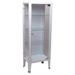 ARMADIO VETRINA in acciaio e vetro - 1 anta / 3 ripiani - 53x36xh.144cm
