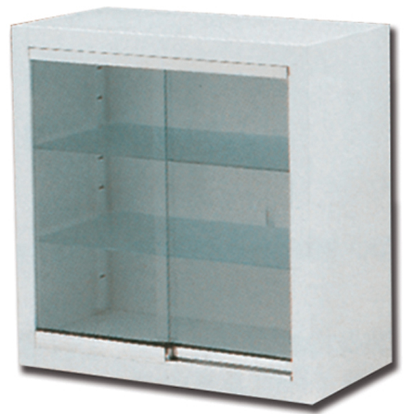 Armadio pensile a muro in acciaio e vetro 2 ripiani 2 for Arredo ospedaliero