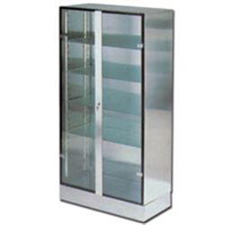 ARMADIO in acciaio e vetro con serratura a chiave - 2 ante / 4 mensole 100x48xh.190cm