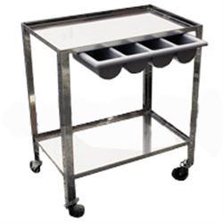 CARRELLO OSPEDALIERO PER MEDICAZIONE in acciaio inox - 2 ripiani - cassetto in plastica a 4 scomparti - 70x50xh.82cm
