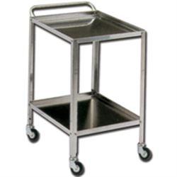 CARRELLO OSPEDALIERO PER MEDICAZIONE GRANDE in acciaio inox - 2 ripiani - 90x60xh.85cm