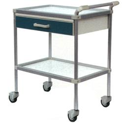 CARRELLO OSPEDALIERO PER MEDICAZIONE DELUXE in acciaio inox - 2 ripiani - con cassetto - 65x45xh.80cm