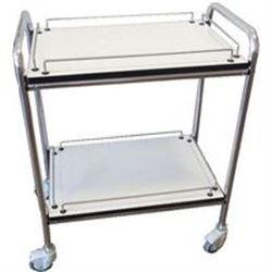 CARRELLO OSPEDALIERO PER MEDICAZIONE PICCOLO in alluminio - 2 ripiani - 60x40xh.77cm