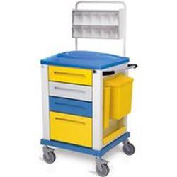 CARRELLO MULTIFUNZIONE MEDICAZIONE PICCOLO - 4 cassetti - serratura - 67x64xh.100cm