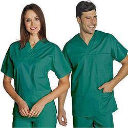 CASACCA DOTTORE MEDICO INFERMIERE UNISEX in cotone 100% - verde - varie misure