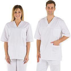CASACCA DOTTORE MEDICO INFERMIERE UNISEX in cotone 100% - bianco - varie misure