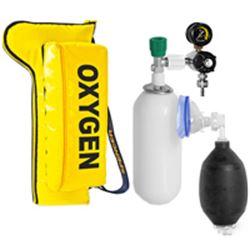 PORTABOMBOLA OXYPACK2 CON BOMBOLA DA 2 LT, riduttore di pressione, pallone rian. e maschera adulto