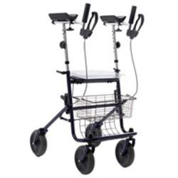 DEAMBULATORE PIEGHEVOLE DA ESTERNO / ROLLATOR - 4 RUOTE con freni - sedile cestino e vassoio - portata 136kg