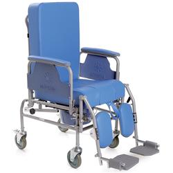 SEDIA / POLTRONA / CARROZZINA COMODA WC - schienale reclinabile e ruote piccole - peso 27kg - portata 180kg