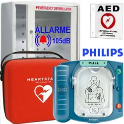 DEFIBRILLATORE DAE SEMIAUTOMATICO PHILIPS® HS1 completo di accessori + TECA con allarme