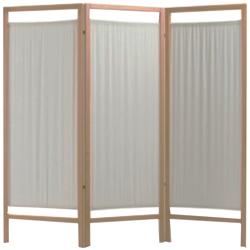 PARAVENTO IN LEGNO - 3 ANTE - 192xh.170cm - pannelli in cotone beige