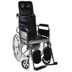 POLTRONA / SEDIA COMODA WC SU RUOTE - con schienale alto regolabile - peso 23kg - portata 100kg