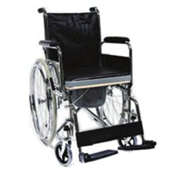 POLTRONA / SEDIA COMODA WC - con sedile rigido su ruote - peso 19,6kg - portata 100kg